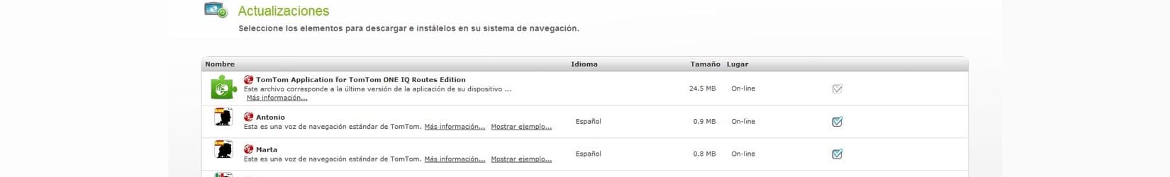 tomtom one actualizar