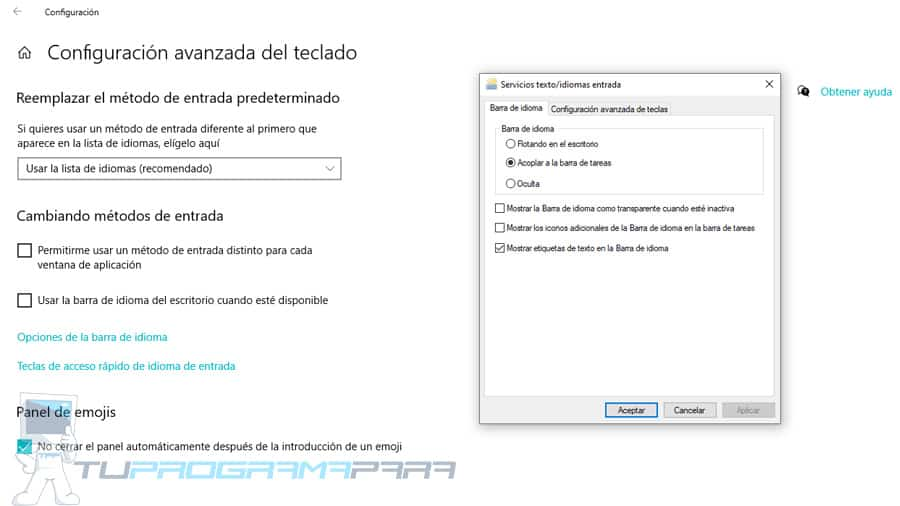 cambiar configuracion teclado windows 10