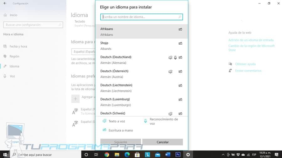 como cambiar el idioma del teclado en windows 10